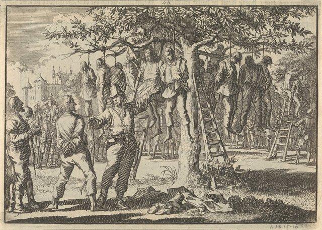 Gevangen genomen boeren bij Hasingen door de Zweden in een boom gehangen, 1633
