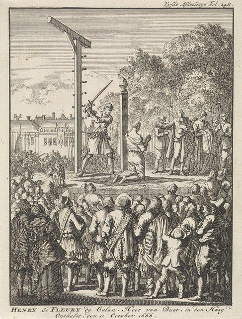 Onthoofding van Henri de Fleury de Coulan Buat in Den Haag, 1666