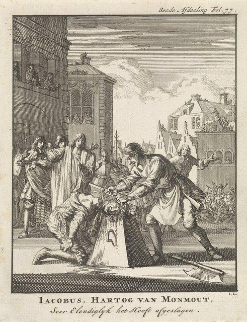 Onthoofding van James Scott hertog van Monmouth te Londen, 1685