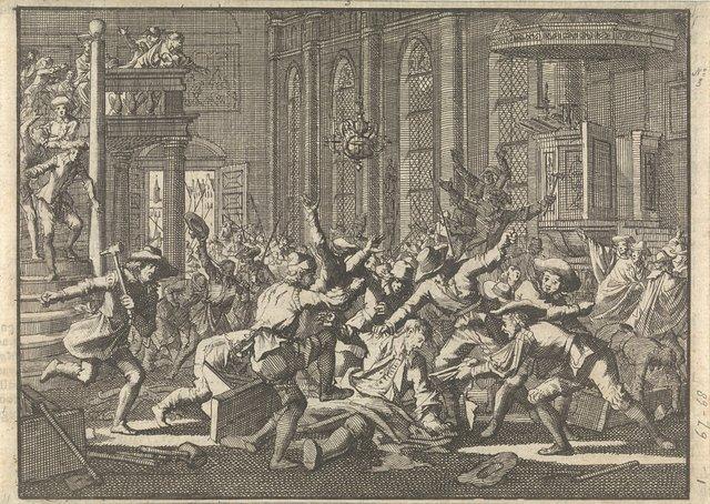Oproer in de kerk te Marburg waar ds. Schonerus wordt mishandeld, 1606