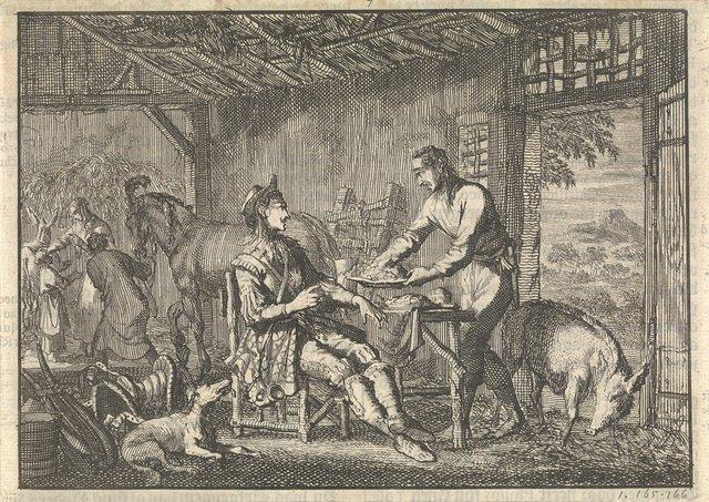 Philips II, koning van Spanje wordt opgenomen in de hut van een arme boer, ca. 1560
