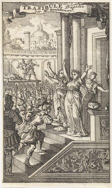 Tasibule beklimt een trap en wordt bovenaan ontvangen door zijn moeder Elpidie, Cleone en Aristide