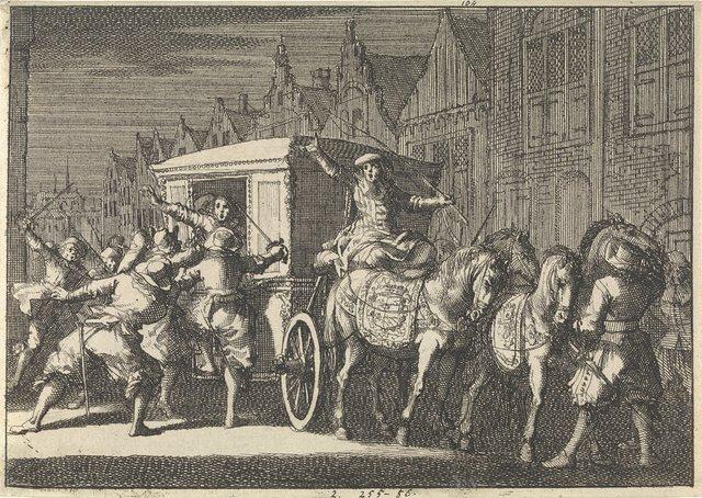 Te Parijs wordt bij nacht de koets van hertog De Beaufort aangevallen, 1650