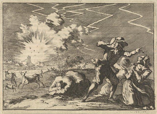 Tijdens hevig onweer vliegt de kruittoren van Rheinberg in de lucht, 1636