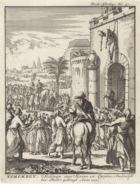 Tuman bay II, sultan van Egypte, opgehangen boven de stadspoort van Istanbul, 1517