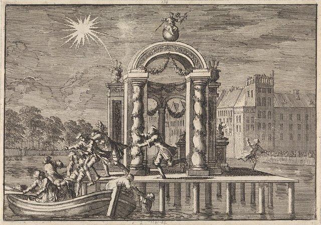 Vluchtende pyrotechnici bij een grote versiering op de Vijverberg te Den Haag ter ere van de geboorte van de zoon van koning Jacobus II, 1688