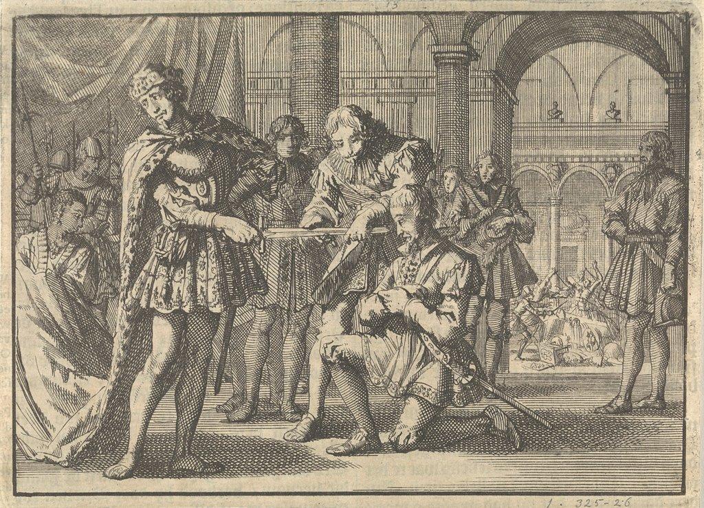 Vrees van Jacobus I, koning van Engeland, voor een zwaard bij het ridderen van Kenelm Digby, ca. 1623