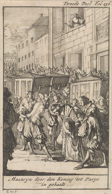 Kardinaal Mazarin wordt door koning Lodewijk XIV verwelkomd in Parijs