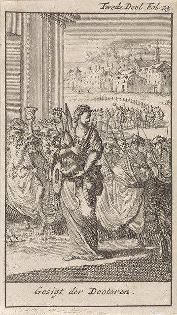 Processie van wetenschappers voor de vrouwelijke personificatie van de Dood