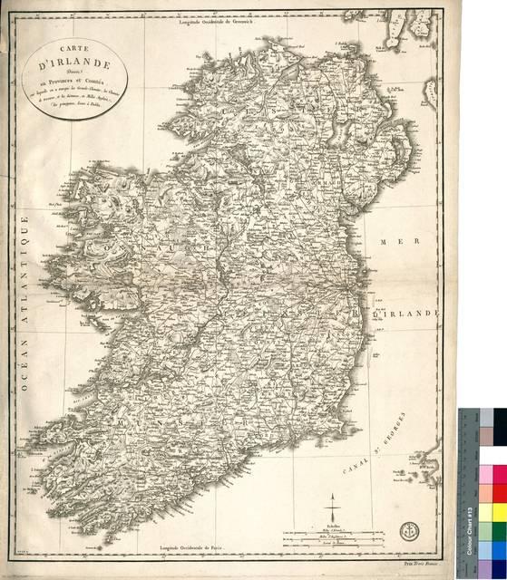 Carte d'Irlande Divisée en Provinces et Countés : sur laquelle on a marqué las Grands-Chemius, les Chemins de traverse, et les distances, en Millés Anglais, des principaux Lieux á Dublin [Mapa]