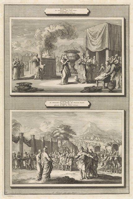 Ceremonie die vrouwelijke ontrouw test en de offerande van de Joodse stammen tijdens de inwijding van het tabernakel