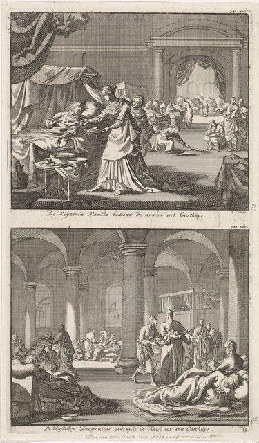 Heilige keizerin Flaccilla verpleegt de armen en zieken en de heilige Deogratias verzorgt zieken in de kerk