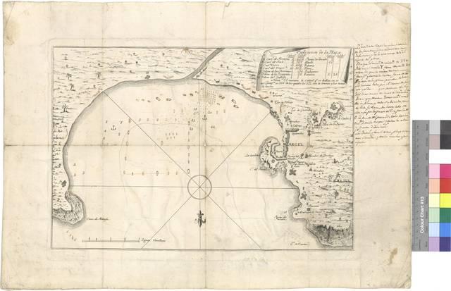 Mapa de la bahía de Argel con las fortificaciones en ella instaladas