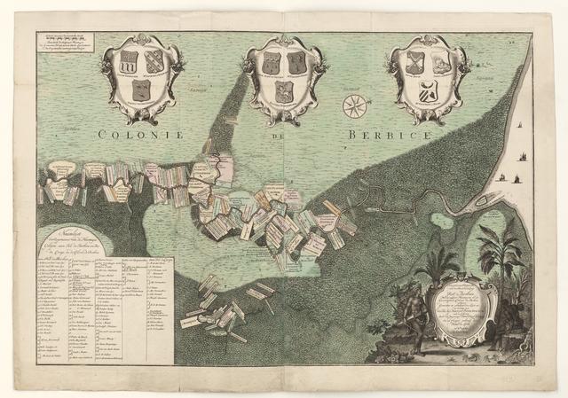 Naauekeurige Plattegrond van den Staat en den Loop van Rio de Berbice. Met derzelver Plantagien in de Geoctroyeerde colonie de Berbice gelegen.