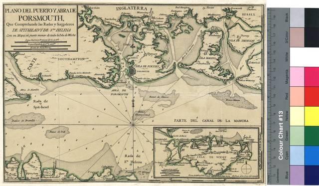 Plano del puerto y obra de Porsmouth : Que Comprehende las Radas y Surgideros De Spit-Head, De Sta. Helena : Con un mapa en un punto menor de toda la isla de Wicht [Mapa]