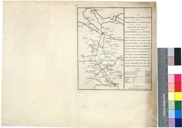 The Ellesmere Canal Navigation from the River Severn near Shrewsbury, to the River Dee near Chester, and from thence to the river Mersey near to Liverpool [Mapa]