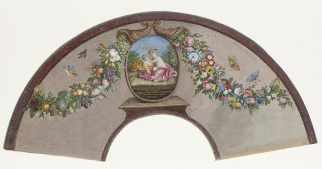 Waaierblad van perkament(?) waarop met tempera aan de voorzijde een 'Floralia' met Vestaalse maagden en op de achterzijde een medaillon met twee spelende, naakte kinderen en een gedichtje, tussen twee cornucopias, vogels en vlinders