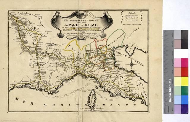 Differentes Routes Pour Aler de París a Rome et aux villes considerables d'Italie Les : ou est Aujour d'huy le Theatre de la Guerre