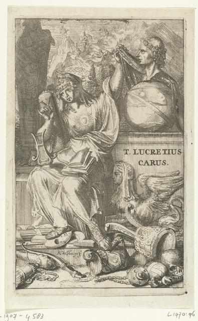 Titelprent voor 'De werken van T. Lucretius Carus van het heelal' van Lucretius