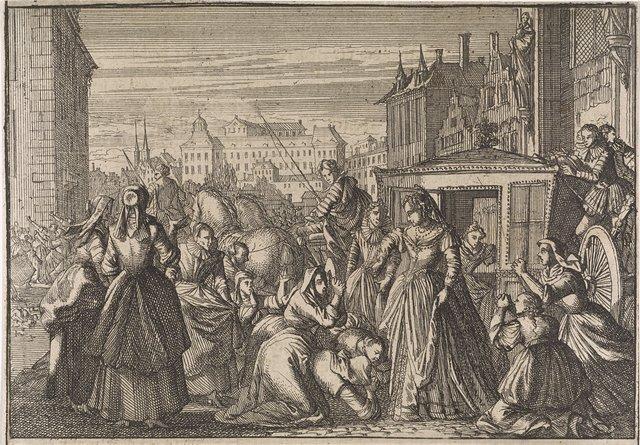 Vrouwen knielen te Parijs voor koningin Anna en smeken haar de belastingen te verlagen, 1645