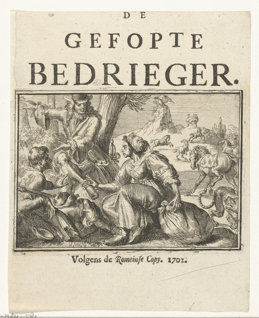 Titelblad voor het pamflet: De Gefopte Bedrieger, 1702