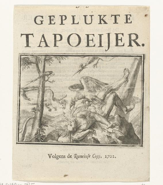 Titelblad voor het pamflet: De Geplukte Tapoeijer, 1702