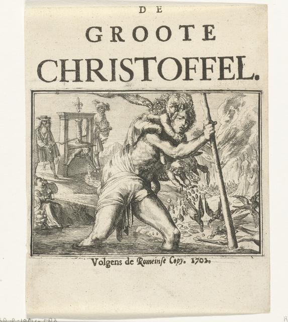 Titelblad voor het pamflet: De Groote Christoffel, 1702