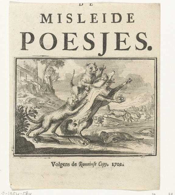 Titelblad voor het pamflet: De Misleide Poesjes, 1702