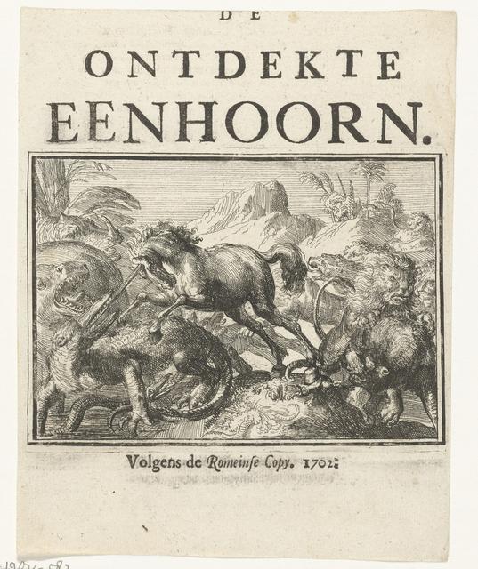 Titelblad voor het pamflet: De Ontdekte Eenhoorn, 1701