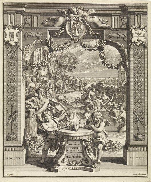 Allegorie op de huwelijksverbintenis tussen Cornelis Calff en Grietje Bloem