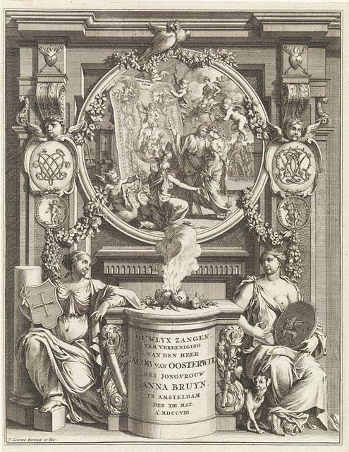 Allegorie op de huwelijksverbintenis tussen Jacob van Oosterwyck en Anna Bruyn