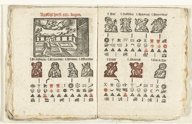 Bladzijden met de voorspelling voor de maand april, 1712