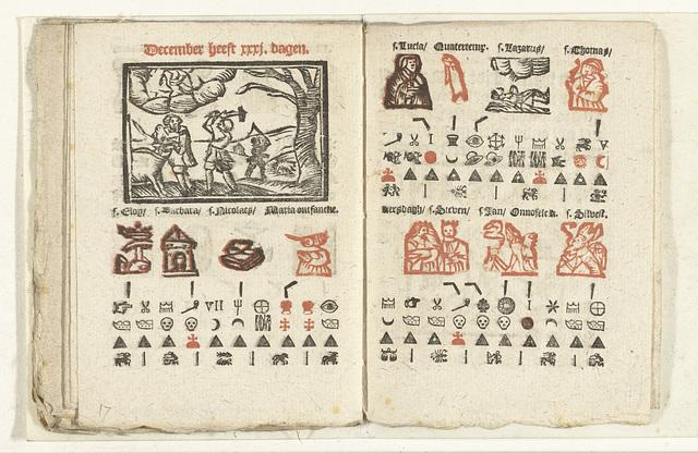 Bladzijden met de voorspelling voor de maand december, 1712