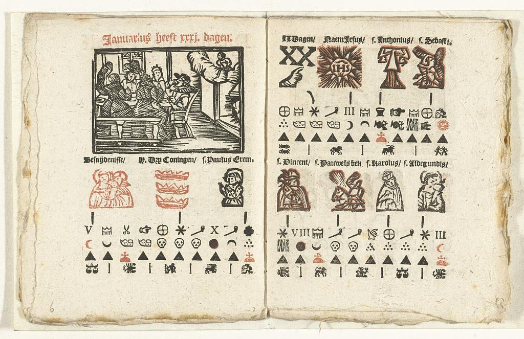 Bladzijden met de voorspelling voor de maand januari, 1712