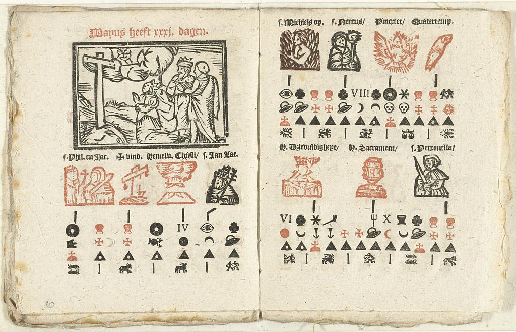 Bladzijden met de voorspelling voor de maand mei, 1712