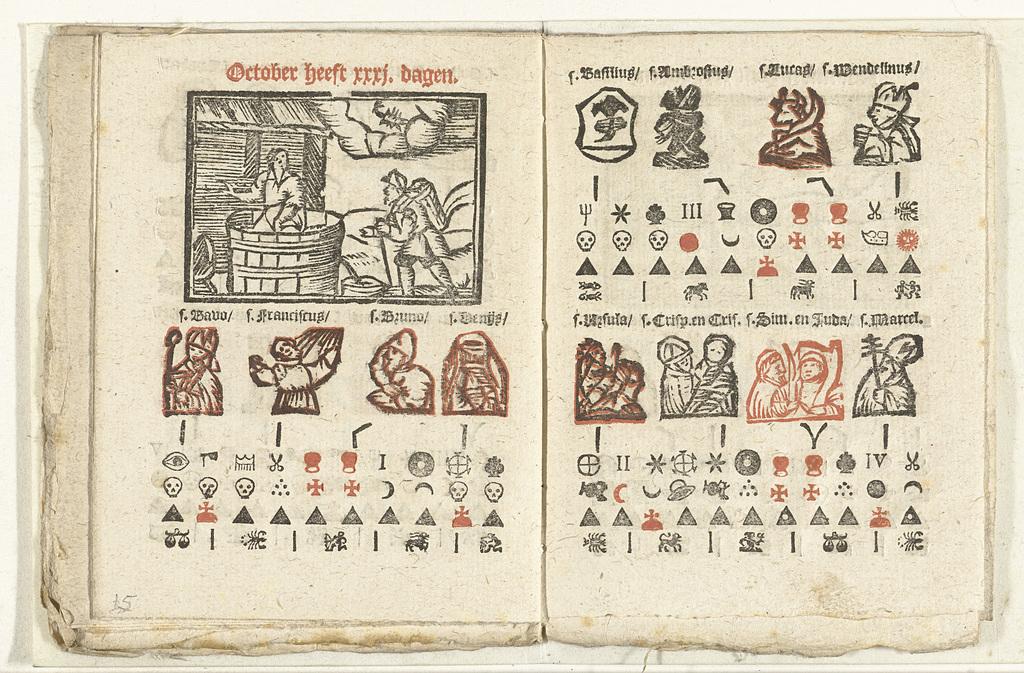 Bladzijden met de voorspelling voor de maand oktober, 1712