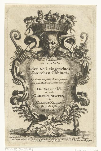 Titelprent voor: Il Calotto resuscitato. oder Neü eingerichtes Zwerchen Cabinet. Amsterdam: 1716.
