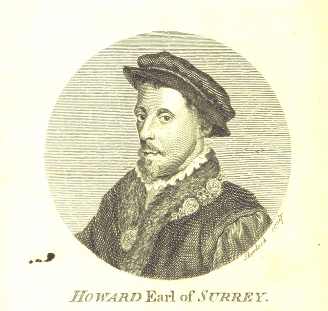 "portrait from ""Poems of Henry Howard Earl of Surrey ... With the Poems of Sir Thomas Wiat, and others his contemporaries. To which are added some memoirs of his life and writings. MS. notes [by Thomas Park]"""