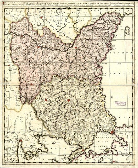 Bulgaria et Romania, divisa in singulares sangiacatus Silistriam, Nikopolin, Bodinum, Sardiam, Bysantium, Kirkeliam et Gallipolin, una cum finitimis regionibus Valachia, Servia , etc. : [Карта]