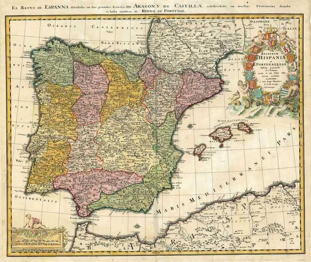 Regnorum Hispaniae et Portugalliae [Material cartográfico] : Tabula generalis de l'Isliana, aucta et ad Usum Scholarum