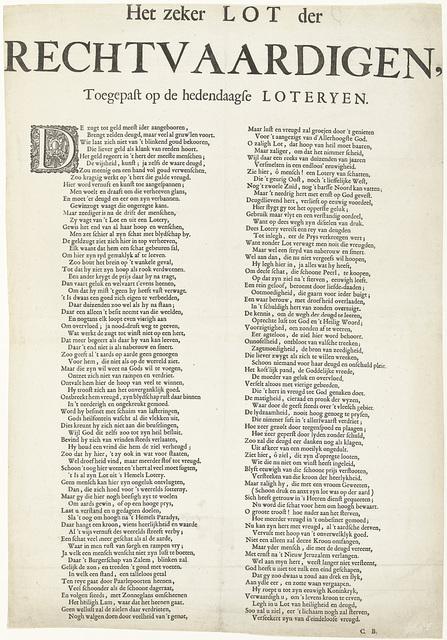 Vers op het lot van de rechtvaardigen bij de hedendaagse loterijen, 1720