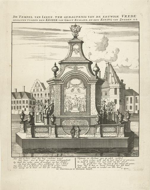 Tempel der Vrede, middelpunt van het vuurwerk afgestoken op 9 december 1721