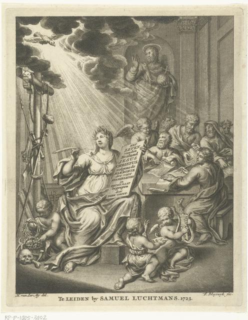 Allegorie met vrouwelijke personificatie en vier evangelisten