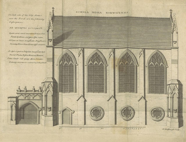 "architecture from ""[Posthumous Works of the learned Sir Thomas Browne, Kt ... printed from his original manuscripts. viz. I. Repertorium: or, the Antiquities of the Cathedral Church of Norwich. II. An Account of some Urnes, &c. found at Brampton in Norfolk, anno 1667. III. Letters between Sir William Dugdale and Sir Tho. Browne. IV. Miscellanies [including ""An Account of Island, alias Ice-land,"" and ""A Letter to a Friend upon Occasion of the Death of his Intimate Friend""]. To which is prefix'd his Life. There is also added, Antiquitates Capellæ D. Johannis Evangelistæ; hodie Scholæ Regiæ Norwicensis. Authore Johanne Burton ... Illustrated with prospects, portraitures, draughts of tombs, monuments, &c. MS. notes [by John Ives].]"""