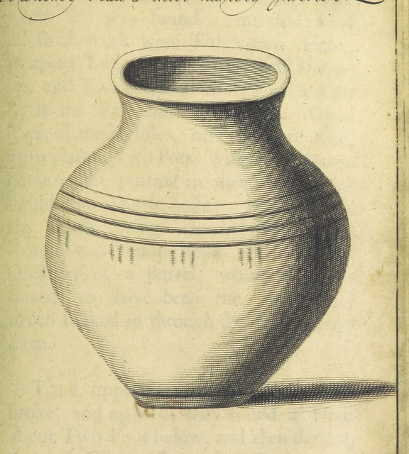 "urn from ""[Posthumous Works of the learned Sir Thomas Browne, Kt ... printed from his original manuscripts. viz. I. Repertorium: or, the Antiquities of the Cathedral Church of Norwich. II. An Account of some Urnes, &c. found at Brampton in Norfolk, anno 1667. III. Letters between Sir William Dugdale and Sir Tho. Browne. IV. Miscellanies [including ""An Account of Island, alias Ice-land,"" and ""A Letter to a Friend upon Occasion of the Death of his Intimate Friend""]. To which is prefix'd his Life. There is also added, Antiquitates Capellæ D. Johannis Evangelistæ; hodie Scholæ Regiæ Norwicensis. Authore Johanne Burton ... Illustrated with prospects, portraitures, draughts of tombs, monuments, &c. MS. notes [by John Ives].]"""
