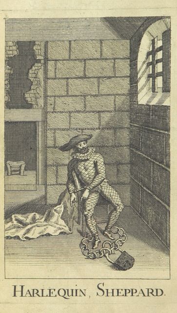 "in jail from ""Harlequin Sheppard. A nigh scene in grotesque characters: as it is performed at the Theatre-Royal in Drury-Lane ... To which is prefixed an introduction, giving an account of Sheppard's life, etc"""