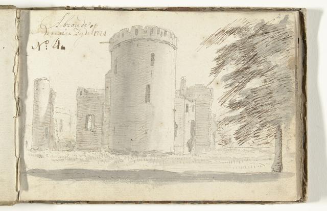 Ruïne van kasteel Abcoude gezien vanaf de rechterzijde, op het verso een schets van een boom