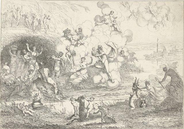Mercurius geeft Bacchus aan de nimfen
