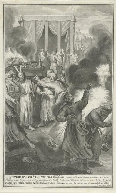 Nadab en Abihu gedood door vlammen