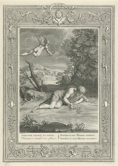 Narcissus verliefd op zijn eigen spiegelbeeld